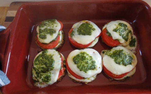Hot from the oven Caprese Veggie Patties with Basil Arugula Pesto