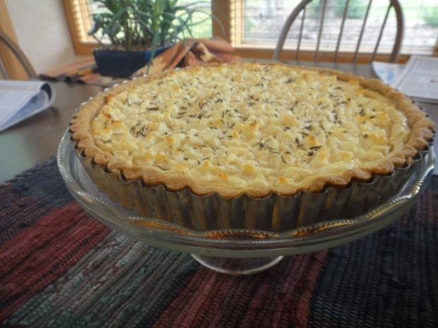 Leek, Goat Cheese and Tofu Tart with Cornmeal Crust