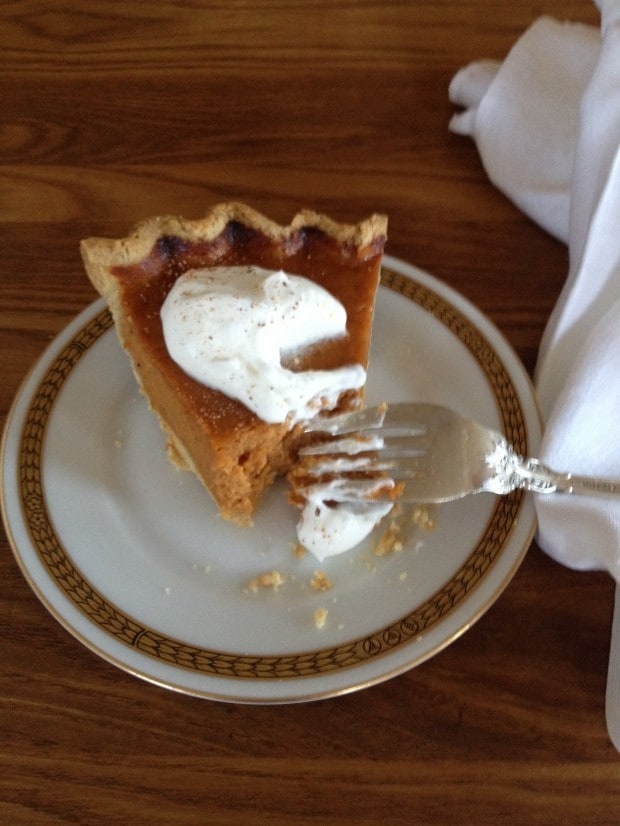 Pumpkin Pie made with either Whole Wheat Oatmeal Pie Dough and Cream Cheese Pie Dough