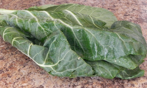 collard greens washed and ready to cut