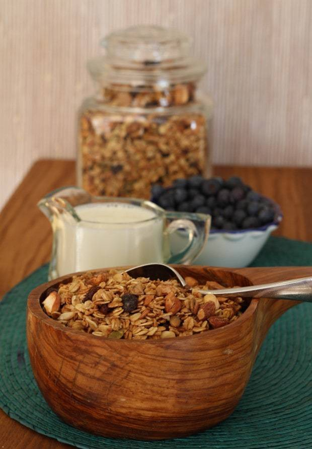 healthy homemade granola with milk and blueberries
