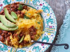 Spaghetti Squash with Chile-Spiced Pinto Beans