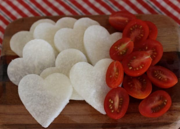 jicama hearts and grape tomatoes for Salad with Jicama and Cumin Lime Dressing | Letty's Kitchen