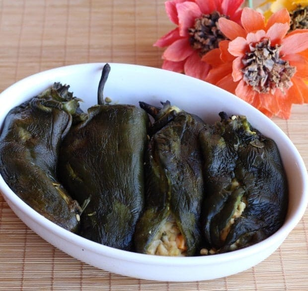 stuffed poblano chiles for Chile Rellenos with Chickpeas | Letty's Kitchen