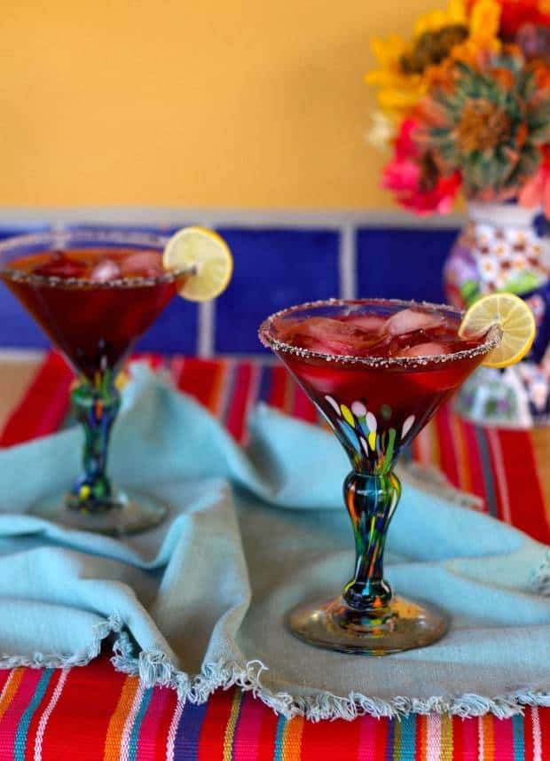 Perfect Hibiscus Margaritas in colorful Mexican cocktail glasses | Letty's Kitchen