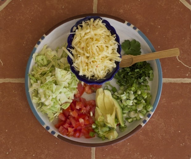 veggie taco garnishes on a plate. Cabbage, tomato, avocado, green onions, cilantro and cheese