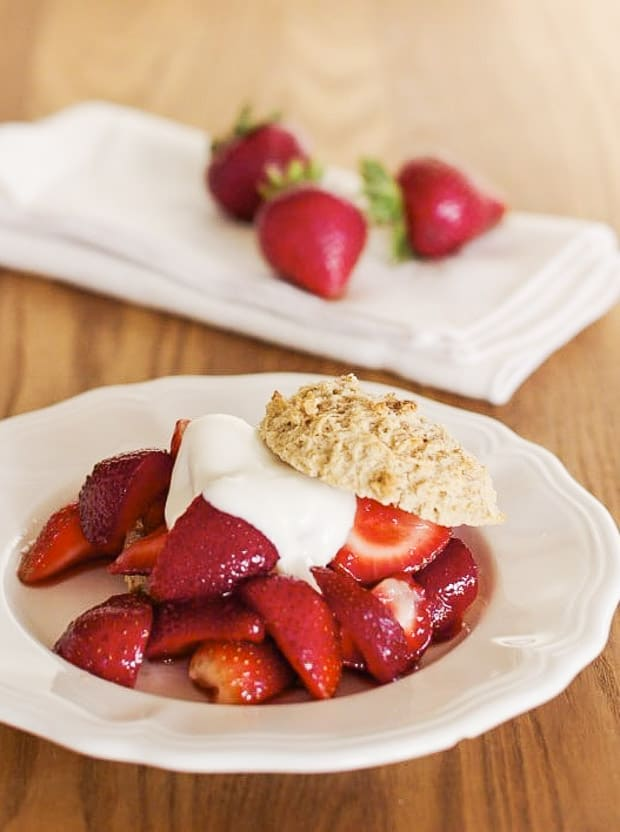 Strawberry Shortcake with whole wheat shortcake biscuit plated ready to eat
