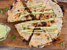 Chard and Pepper Jack Quesadillas with Avocado Cream