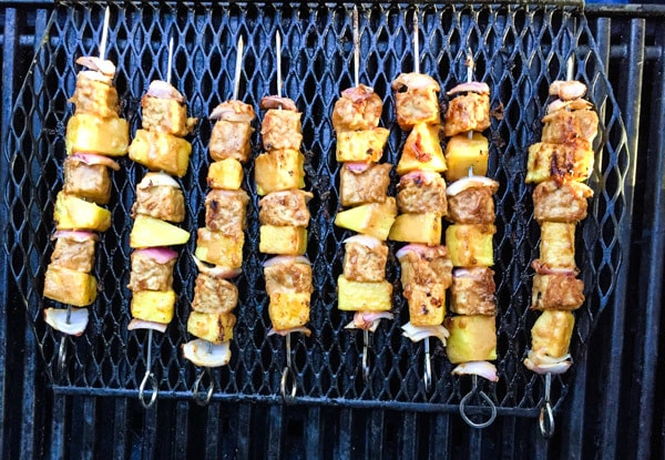 Tempeh and Pineapple Kebabs on the grill
