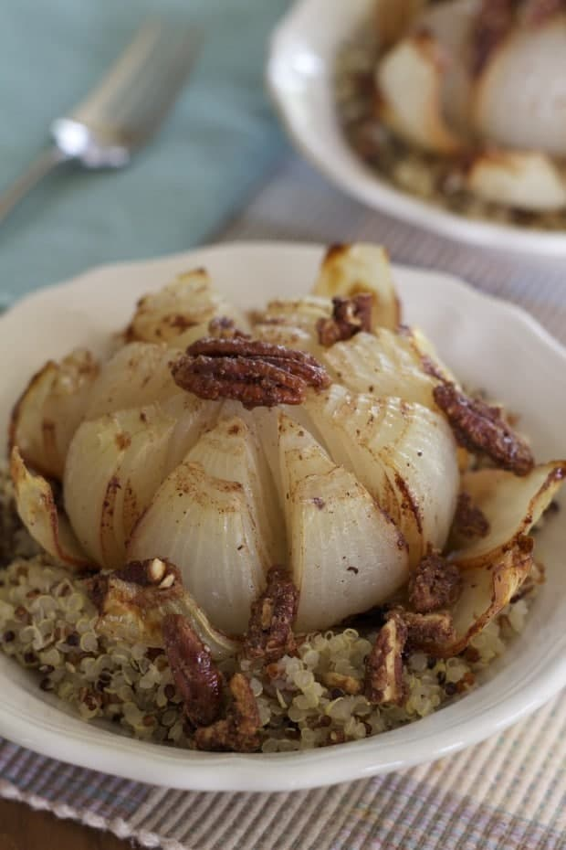 Cinnamon Onion Flowers with Maple Roasted Walnuts | Letty's Kitchen