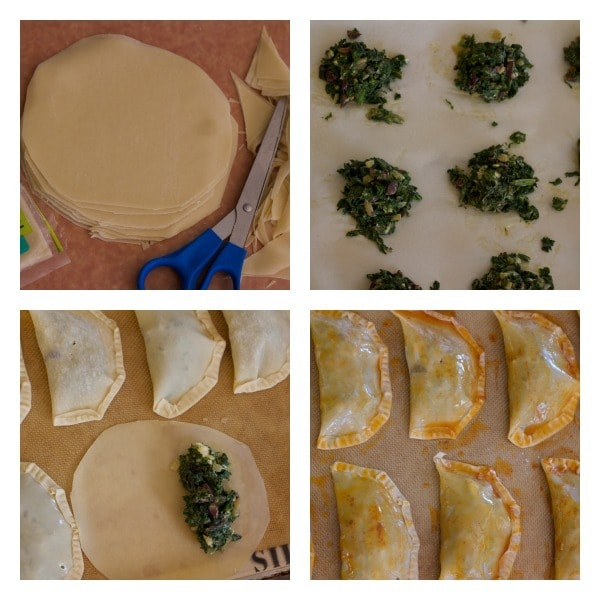 How to assemble in 4 photos-- Kale and Kalamata Olive turnovers
