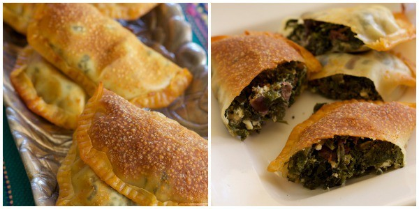 Kale and Kalamata olive turnovers baked and cut to show filling