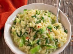 Bok Choy Risotto (Instant Pot pressure cooker)