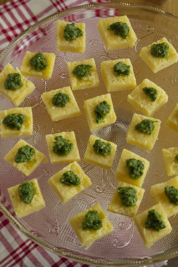 Arugula and Cashew Pesto on Polenta Bites