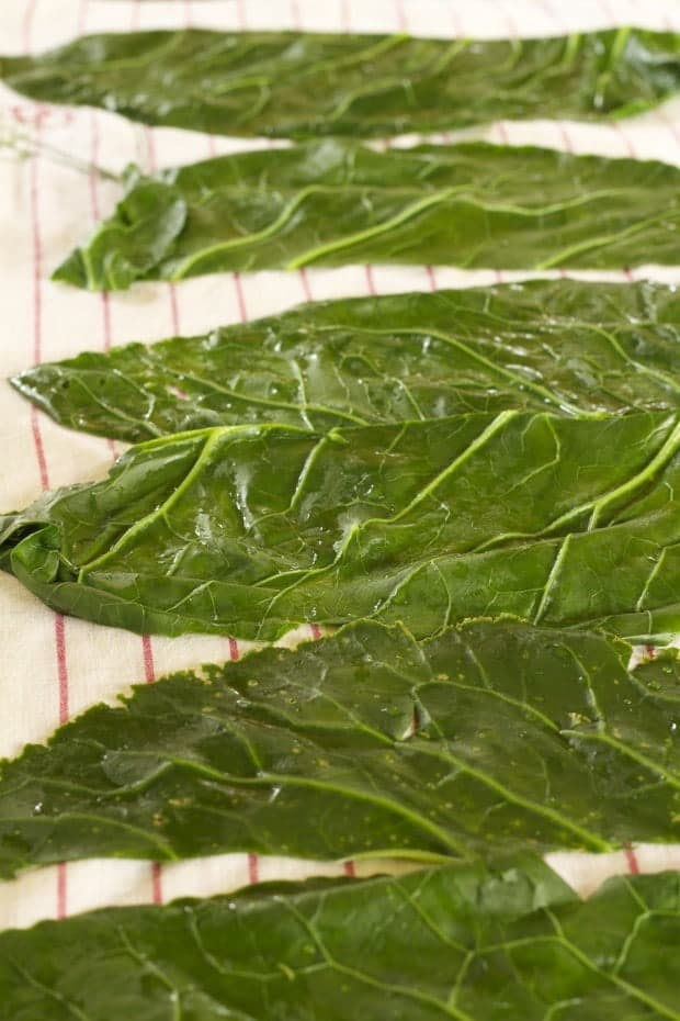 collard greens ready for filling for Collard Rolls with Rice Pilaf