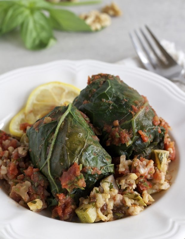 Collard Rolls with Rice Pilaf | Letty's Kitchen