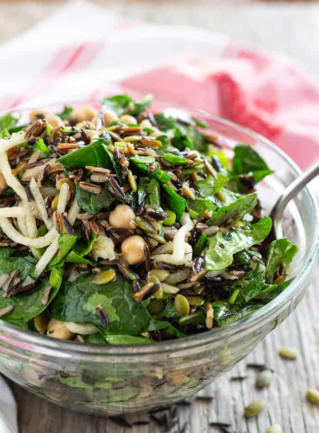Wild Rice Arugula Salad with chickpeas, jicama, and pumpkin seeds