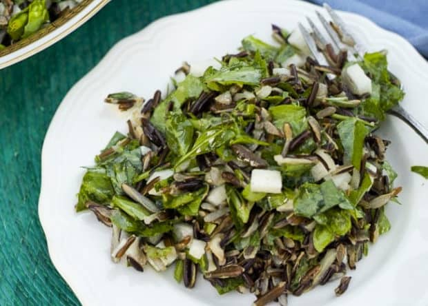 Salad of Wild Rice, Pea Shoots and Jicama featured