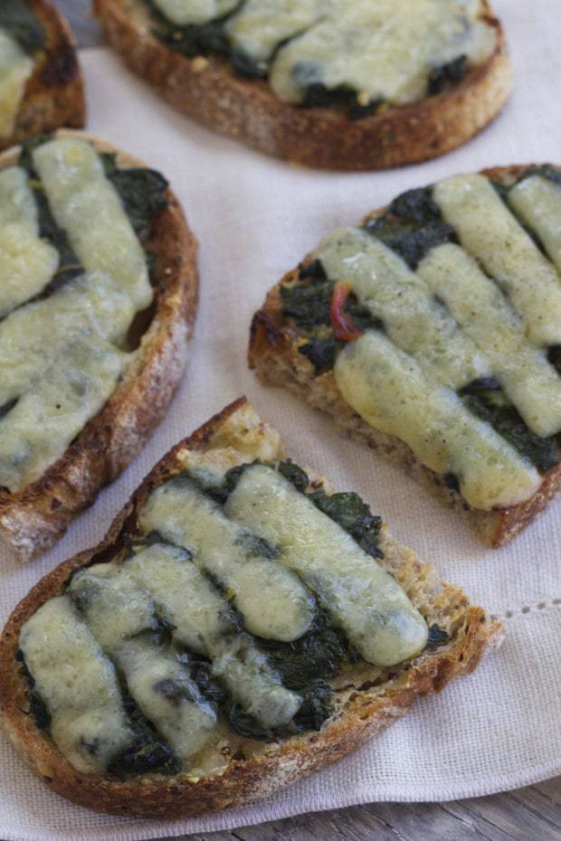 Rainbow Chard Garlic Toasts
