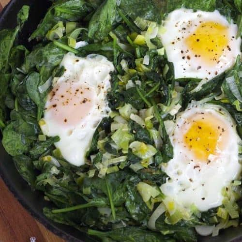 Skillet Poached Eggs with Spinach and Leeks