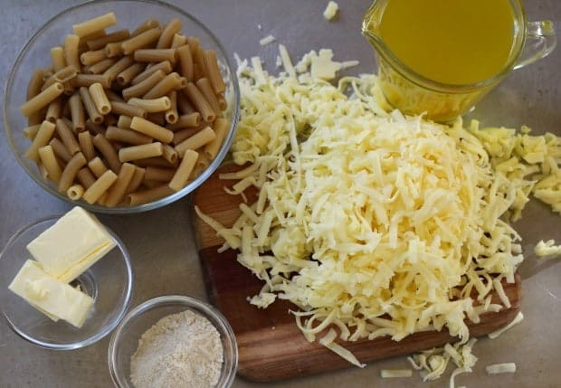 ingredients for Sunflower Crusted Macaroni and Cheese pasta, butter vegetable broth, cheese