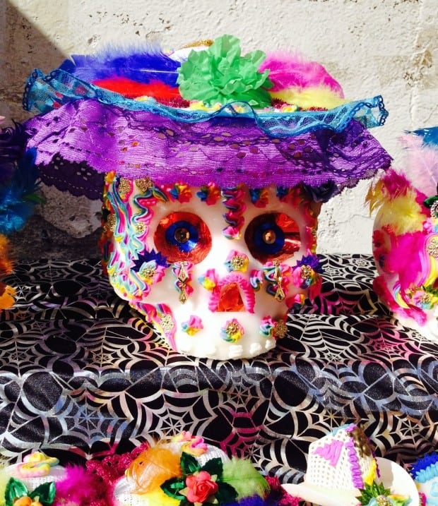 elaborate colorful sugar candy skull for Day of the Dead