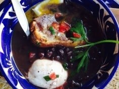 Black Bean Soup with Poached Egg
