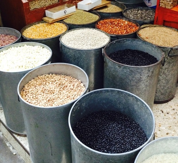 display of dried beans in Oaxaca Mexico market