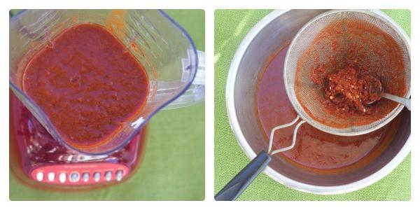 Red Enchilada Sauce blend and strain