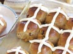 Gingery Whole Wheat Hot Cross Buns with Cream Cheese Frosting