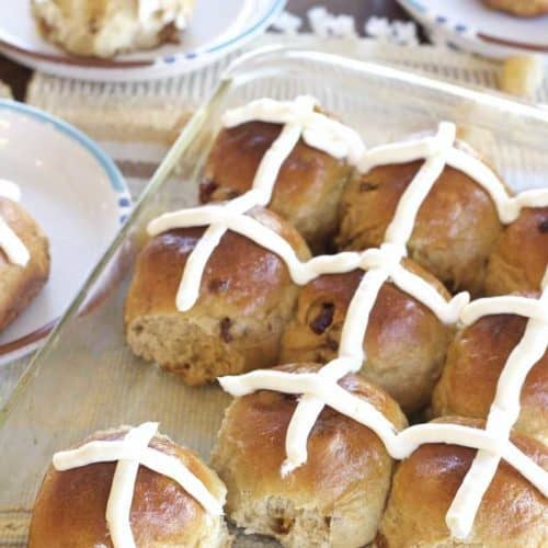 Gingery Hot Cross Buns in pan