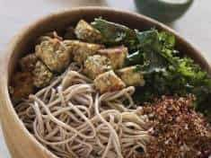 Tempeh and Kale Soba Noodle Bowl with Lemon Tahini Sauce