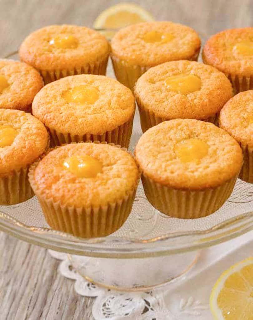 cake platter with honey lemon chiffon cupcake display