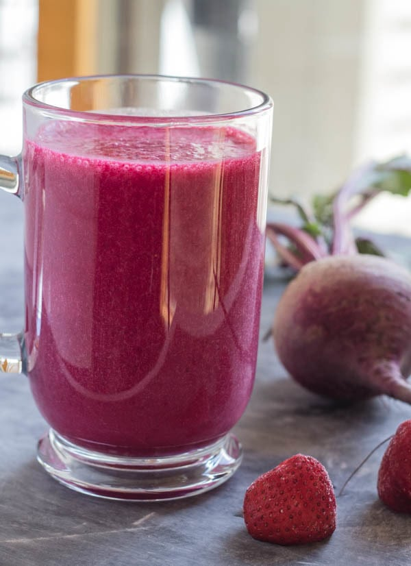 Berry Beet smoothie for berry blue smoothie recipe and Simply Smoothies cookbook review