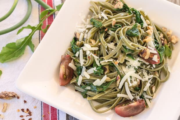 closeup of Spinach Fettuccine with Arugula plated
