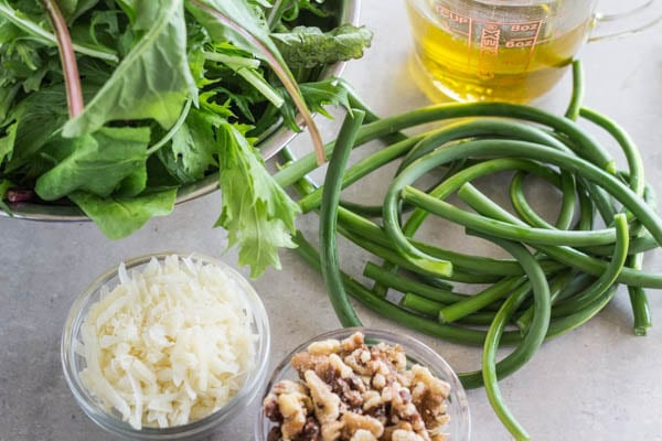 scapes, greens, cheese, walnuts and olive oil, the ingredients for Garlic Scape and Mess O' Greens Pesto