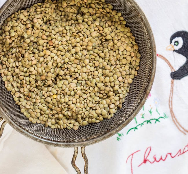 raw brown lentils, rinsed in strainer