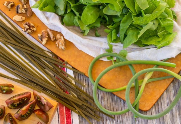 ingredients for Spinach Fettuccine with Arugula and Tomatoes