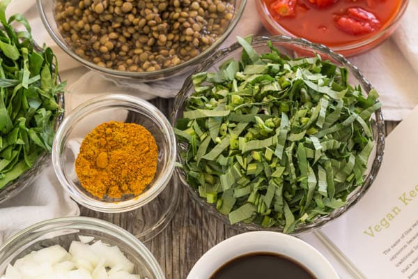 ingredients for Lentil Spinach Keema in bowls ready to cook