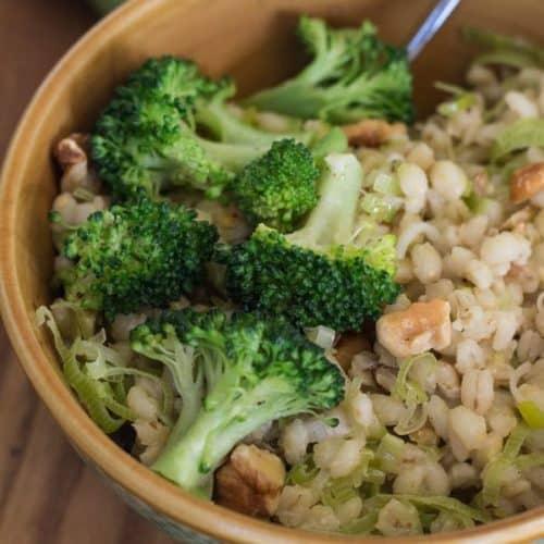 Barley Leek and Walnut Pilaf with Broccoli