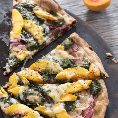 Peach and Arugula Pizza