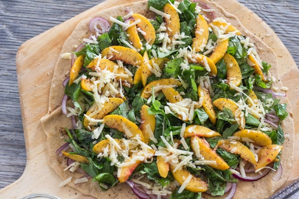 Peach and Arugula Pizza ready to bake