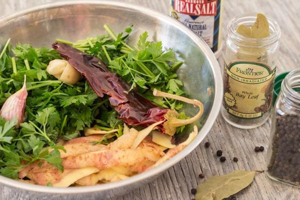 veggies ready for pot for Homemade Vegetable Broth