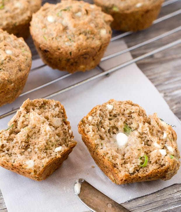 Savory Cottage Cheese Dill muffins, one cut in half with butter