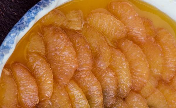 caramel grapefruit sections for Pink Grapefruit with Burnt Honey Custard