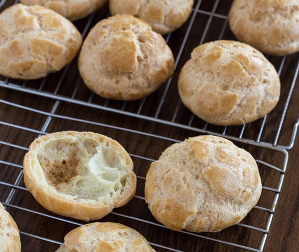 baked choux for Chocolate Profiteroles