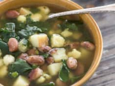 Potato Pinto Bean Soup with Hominy and Greens