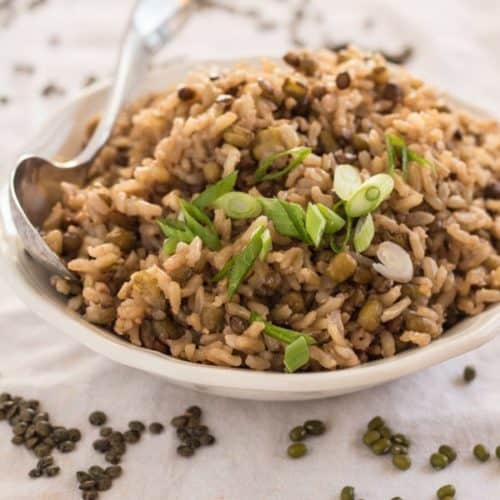 Lentil Very Brown Rice in bowl ready to serve