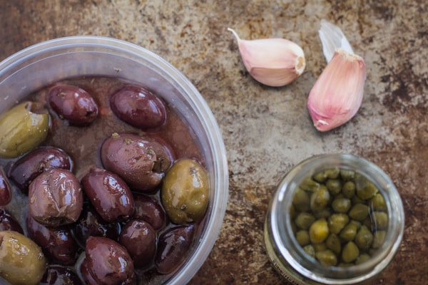olives, capers and garlic for Olive Tapenade