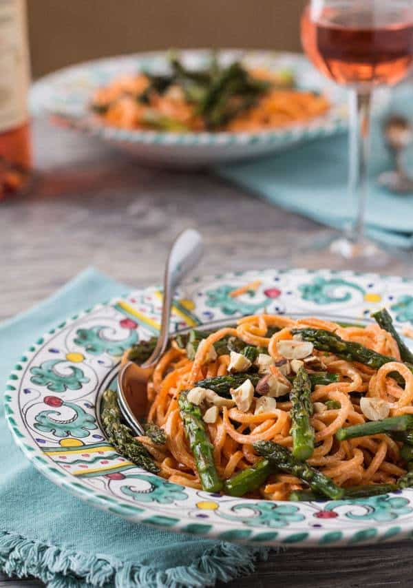 Roasted Asparagus and Sweet Potato Noodles with Goat Cheese Sauce
